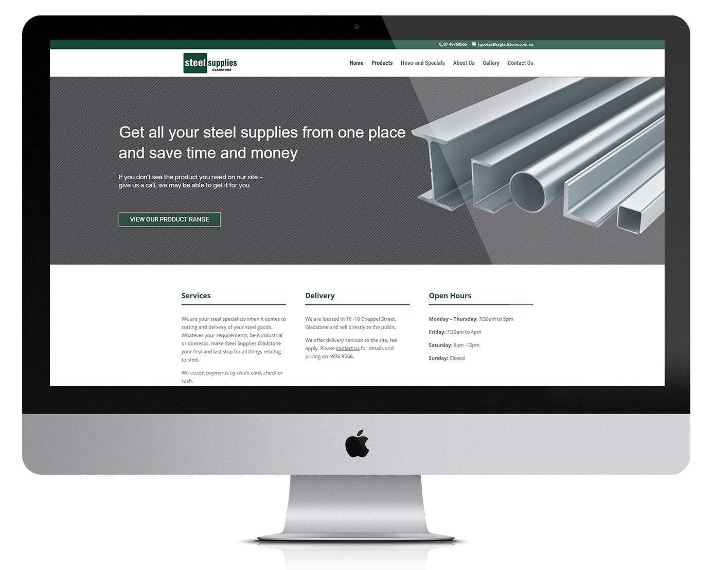 website design for local steel supplies business