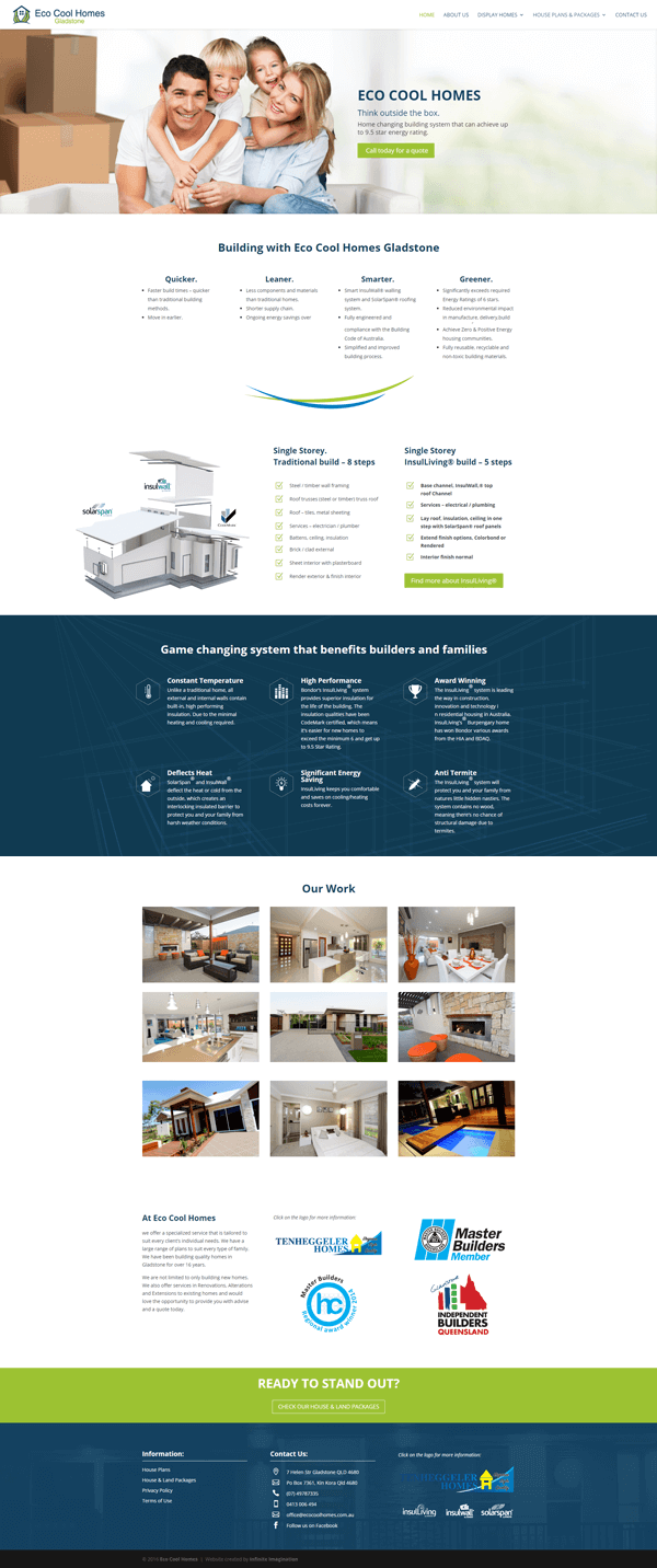 Eco Cool Homes Home page layout desing