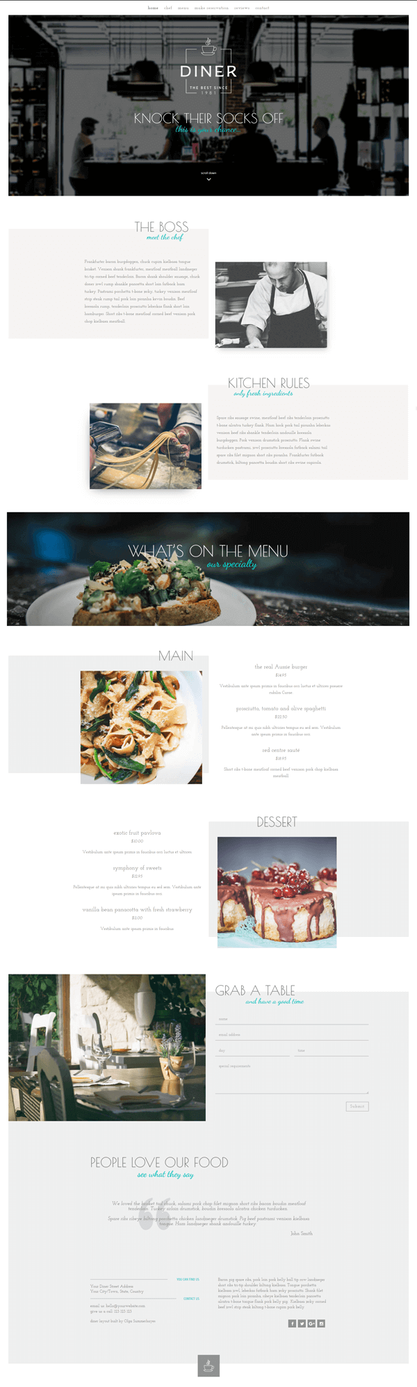 Restaurant layout for Divi theme by Olga Summerhayes