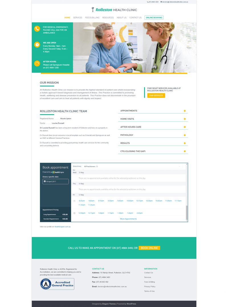 Rollestone Health Clinic website design